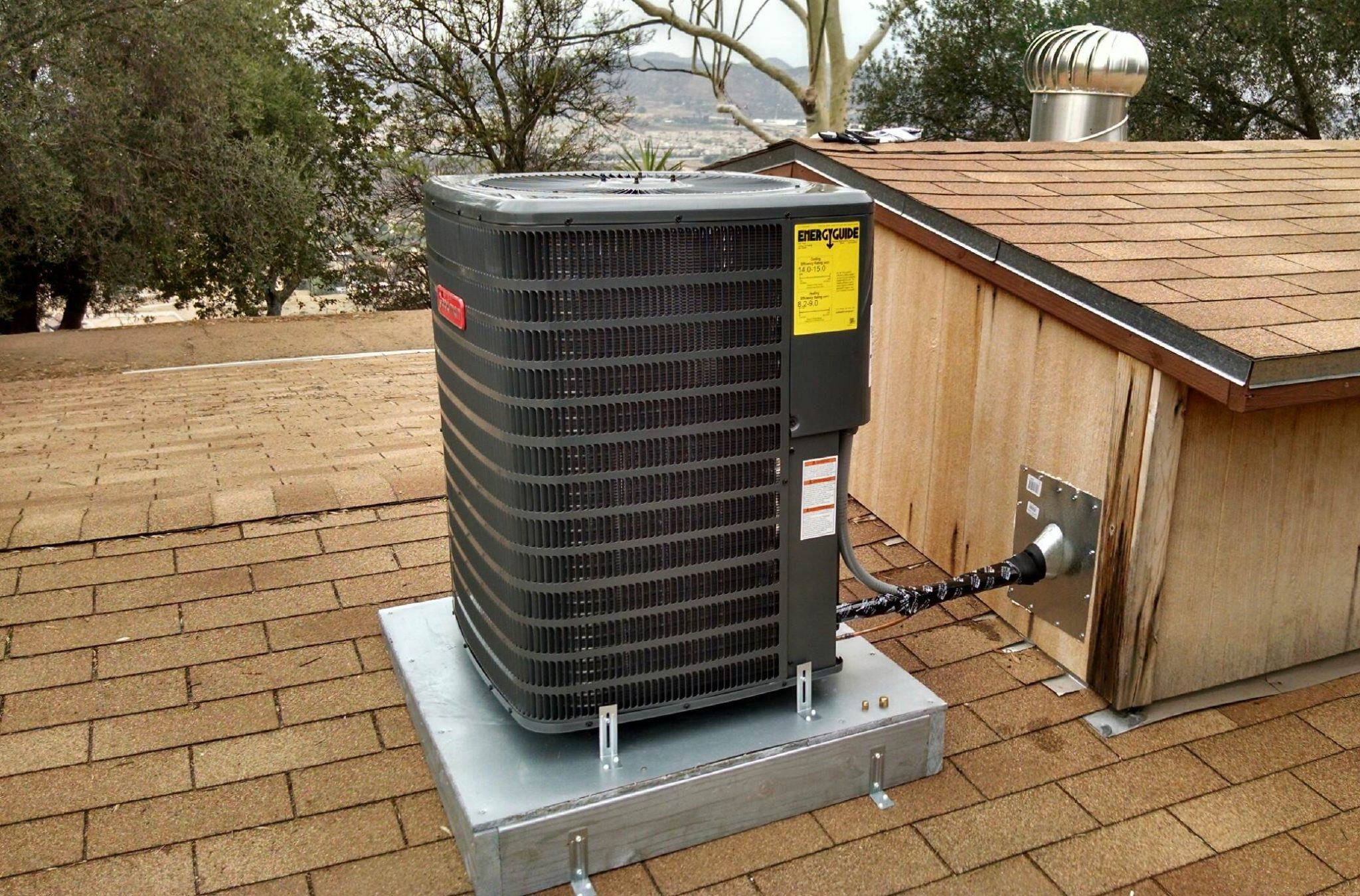 19 Ac Condenser Installed On A Roof Optimal Air Heating